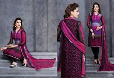 Semi formal Embroidery unstitched Salwar kameez suit with printed back