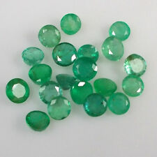 8.34CT NATURAL EMERALD ROUND 4.5-5.4MM SIZE GOOD COLOR LUSTER GEMS UNHEATED LOT