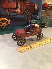 Antique jones and bixler cast iron runabout auto and driver from 1920s original