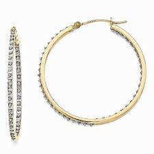 14k Yellow Gold Diamond Round Hinged Hoop Earrings. Width- 1mm x Diameter- 40mm