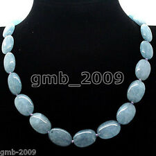 13x18mm Natural Brazilian Aquamarine Gemstone Oval Loose Beads necklace 18""