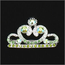 Royal Crown Brooch Pin Costume Jewelr Crystal Rhinestone Green Olive Silver 1.8""