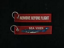 Cloth Keyring with Sea Vixen on front, Remove Before Flight on reverse