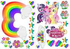 Oblea de Stand Up My Little Pony Rainbow Estrellas Corazones Happy Birthday Cake Toppers