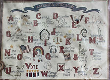 1975 Paragon Historical America Forever Applique Alphabet Crewel Embroidery Kit