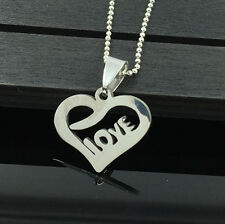 Fashion LOVE Womens Men's Silver Stainless Steel Titanium Pendant Necklace HOT