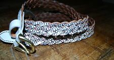NWT Fossil Printed Braid Coconut White and Blue Leather Women's Belt