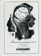 Vintage 1946 Longines Record de Precision Swiss Ad Suisse Publicite Montres