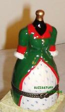 GREEN DRESS with RED TRIM-Porcelain Hinged-Box-OLD FASHIONED COLONIAL STYLE