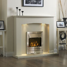 """ELECTRIC CREAM SILVER FIRE CURVED SURROUND LIGHTS FIREPLACE SUITE LARGE 54"""""""