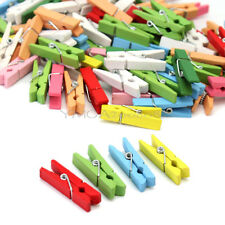 100Pcs Mini Wood Wooden Clothespin Clothes Pin Colorful Clips Craft 36mm New