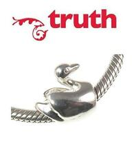 Genuine TRUTH PK 925 sterling silver SWAN charm bead, birds, regal