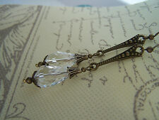 VINTAGE STYLE DANGLE Clear Faceted DROP EARRINGS  Art Deco Nouveau