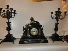 19thC French Empire Egyptian Revival Partial gilt Brnze Marble Clock St w/sphinx