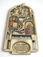 Large Unique Chrisitian Holyland wood home blessing jesus cross water soil gems