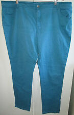 Ladies Moda Size 22 Aqua Blue Denim Jeans Cotton Blend Stretch