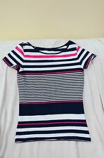 Blue, pink and white stripey ladies t-shirt - size 12