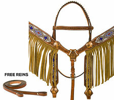 WESTERN SHOW HORSE TACK SET BLING BEADED BARREL SILVER LOT BRIDLE HEADSTALL