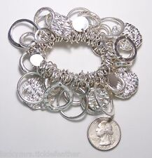 Large, Chunky & Thick Cha-Cha Bracelet, Silvertone Rings/Circles/Textured Disks