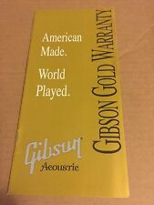 Gibson Acoustic Guitar Gold Warranty Card Owners manual Case Candy Dove J45 J30