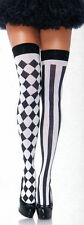 Leg Avenue 6120 Harlequin Thigh Highs Stripes Diamonds Opaque O/S Black White