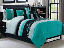 11P Gael Scroll Floral Leaves Comforter Curtain Set Turquoise Black Silver Queen