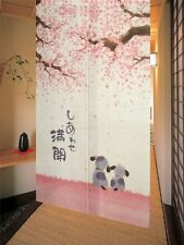 Noren Japanese Doorway Curtain 85x150cm Happy Dogs Cherry Blossom, New, Free Shi
