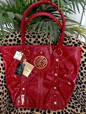 Baby Phat Red Handbag Gold studs Rhinestones Faux Leather With Emblem NWT