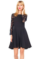 YUMI KIM $249 Delicate Lace Sleeve Fall Silk Swing Cocktail Party Dress black S