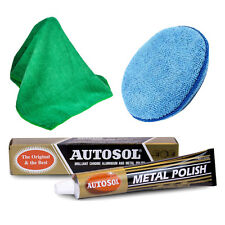 Autosol Solvol Chrome Metal Alu Cleaner & Polish + Microfibre Cloth & Pad Set