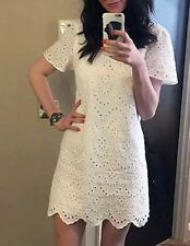 Rare S_NWT ZARA 2016 OFF WHITE EMBROIDERED SHIFT DRESS LASER CUT CROCHET