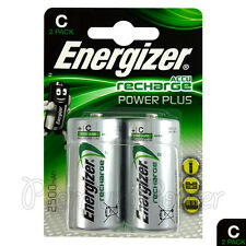 2x Energizer Rechargeable C Size batteries Accu Recharge Power Plus NiMH 2500mAh