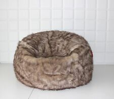 LARGE LUSH & SOFT TUNDRA WOLF FAUX FUR BEAN BAG CLOUD BEAN BAG CHAIRS COVER