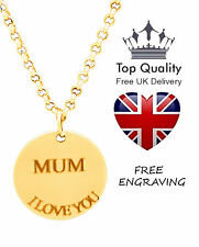 Disc Pendant Personalised Engraved Name Necklace Gold Plated Mothers Day Gift UK