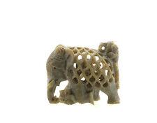STATUE ELEPHANT ET LION EN PIERRE-STONE ELEPHANT CARVING-   06