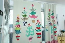 Santa Claus Xmas Tree Curtain Drapes 53''*102'' Home Cafe Decor Cotton Linen
