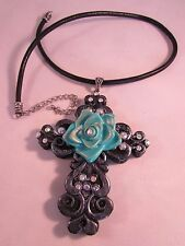 Resin Black Pearl and Rhinestone Cross & Turquoise Rose Pendant Necklace 22""