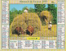 CALENDRIER ALMANACH des postes PTT 1995 scène de campagnes fenaison boeufs