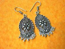 Tibettan Art Carft Handmade Brass Metal Silver Oxidized Casting Earring Silver16