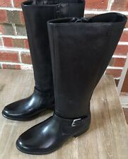 Clarks Leather Tall Shaft Boots w/ Buckle Detail Plaza Pilot 8 Wide Black