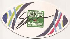 AUSTRALIA RUGBY: SEAN McMAHON SIGNED WORLD CUP 2015 BEER MAT+COA *WALLABIES*