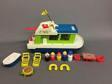 Vintage 1972 Fisher Price Little People HAPPY HOUSEBOAT Boat Set #985 COMPLETE!