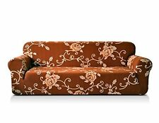 Chunyi Printed Sofa Covers 1-Piece Spandex Fabric Slipcover (SOFA, Coffee Rose)