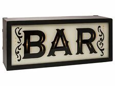 BAR Light Up Box UK Mains Plug 240v Red White Metal Sign Retro