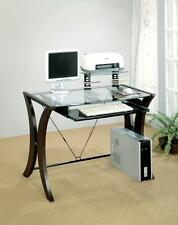 Stylish Computer Desk Curved Wood Base X Design Cappuccino Home Office Furniture