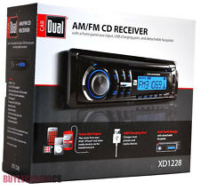 Dual XD1228 In-Dash Single Din Car Radio/ Receiver/ Front USB/ AUX/ AM/FM/CD