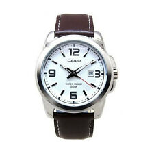 Casio MTP1314L-7A Mens Brown Leather Modern Dress Watch New 50M White Dial