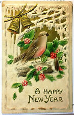 Early 1900's Happy New Year Postcard Bird Tree Silver Bells Embossed