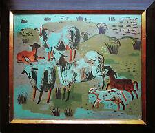Kay H. Nebel (1888-1953) 1930 Neue Sachlichkeit Schafe in blauer Nacht Ölgemälde