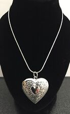 "Ladies Silver Heart Pendant Necklace 18"" Chain Locket Costume Jewellery UK"